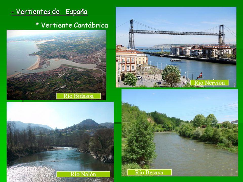 - Vertientes de España * Vertiente Cantábrica Río Nervión Río Bidasoa