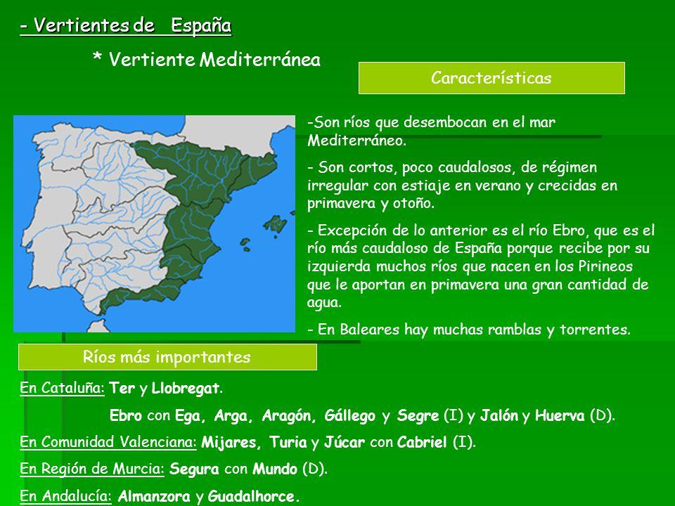 - Vertientes de España Características Ríos más importantes