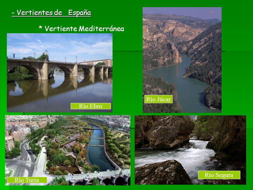 - Vertientes de España Río Júcar Río Ebro Río Segura Río Turia