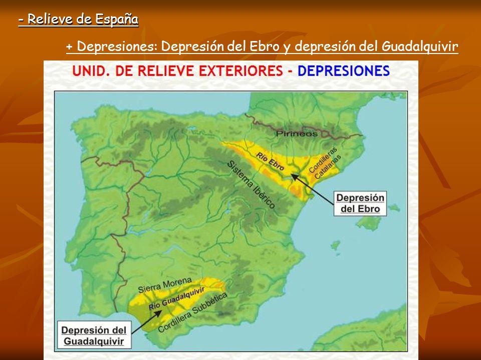 - Relieve de España + Depresiones: Depresión del Ebro y depresión del Guadalquivir