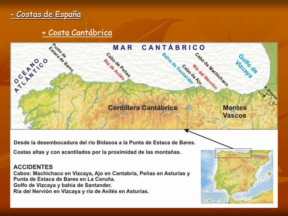 - Costas de España + Costa Cantábrica