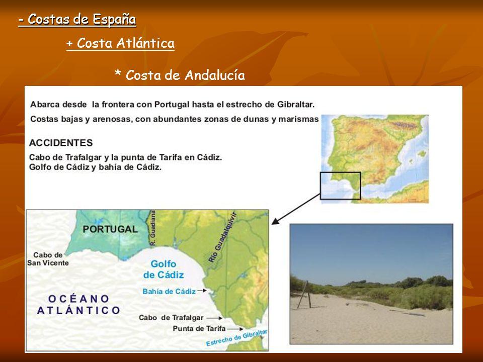 - Costas de España + Costa Atlántica * Costa de Andalucía