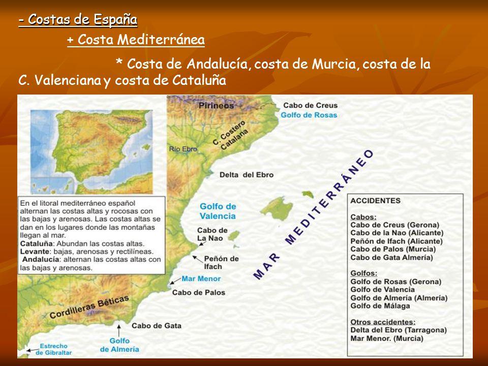 - Costas de España + Costa Mediterránea. * Costa de Andalucía, costa de Murcia, costa de la C.