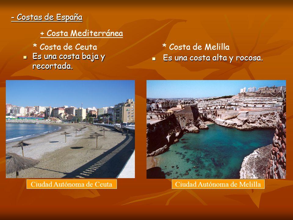 * Costa de Ceuta * Costa de Melilla Es una costa baja y recortada.