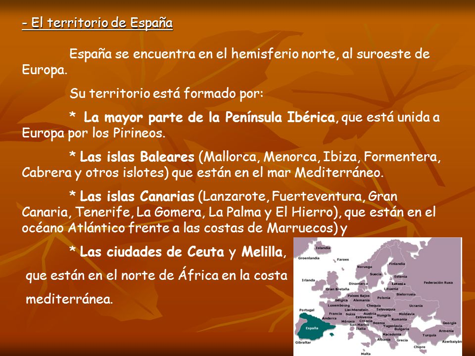 - El territorio de España