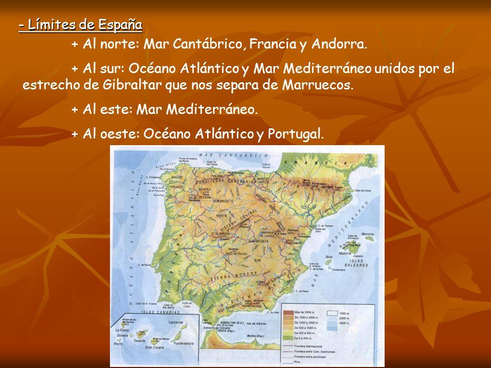 + Al este: Mar Mediterráneo. + Al oeste: Océano Atlántico y Portugal.