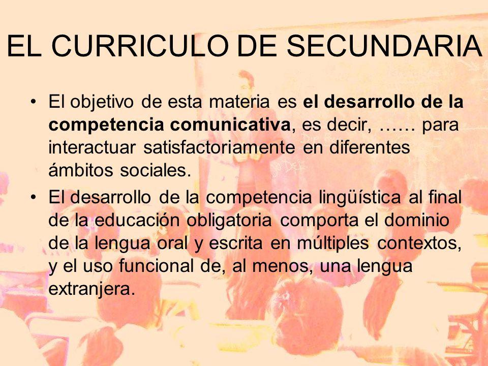 EL CURRICULO DE SECUNDARIA