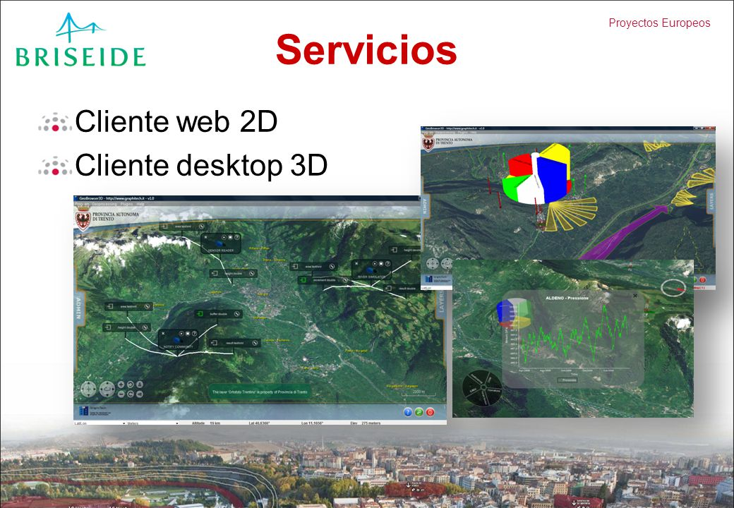 Servicios Cliente web 2D Cliente desktop 3D