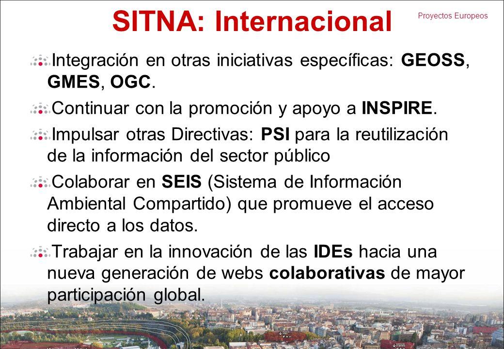 SITNA: Internacional Integración en otras iniciativas específicas: GEOSS, GMES, OGC. Continuar con la promoción y apoyo a INSPIRE.