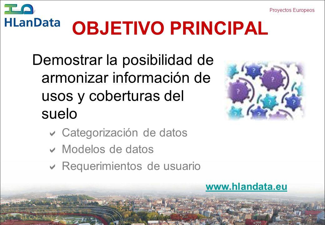 OBJETIVO PRINCIPAL Demostrar la posibilidad de armonizar información de usos y coberturas del suelo.