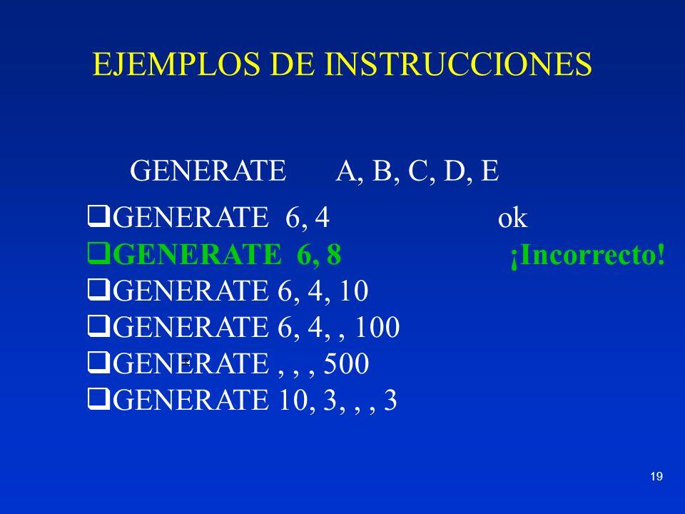 EJEMPLOS DE INSTRUCCIONES