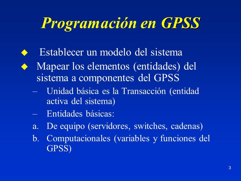 Programación en GPSS Establecer un modelo del sistema