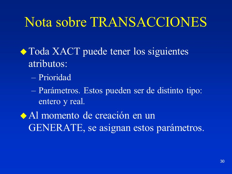 Nota sobre TRANSACCIONES