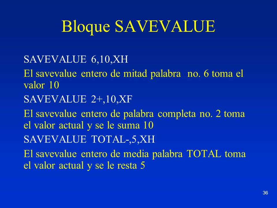 Bloque SAVEVALUE SAVEVALUE 6,10,XH