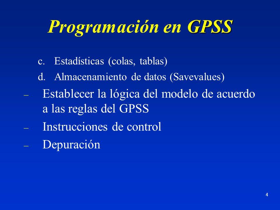 Programación en GPSS Estadísticas (colas, tablas) Almacenamiento de datos (Savevalues)