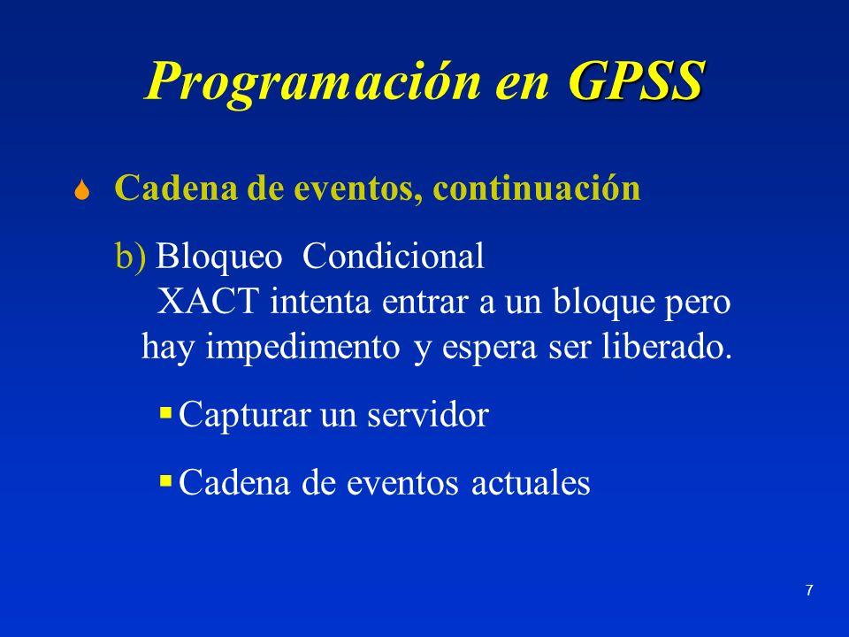 Programación en GPSS Cadena de eventos, continuación