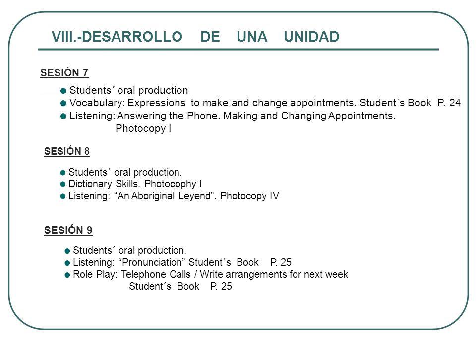 VIII.-DESARROLLO DE UNA UNIDAD