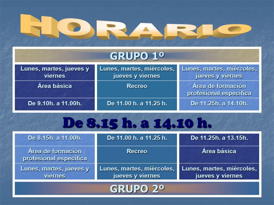 De 8.15 h. a 14.10 h. GRUPO 1º GRUPO 2º HORARIO