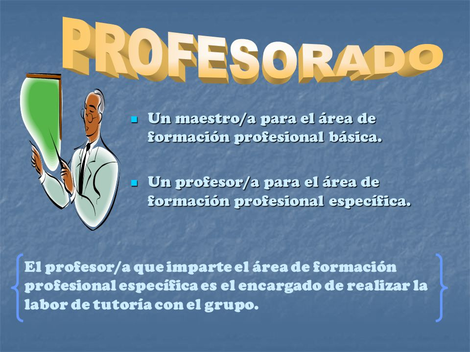 PROFESORADO Un maestro/a para el área de formación profesional básica. Un profesor/a para el área de formación profesional específica.