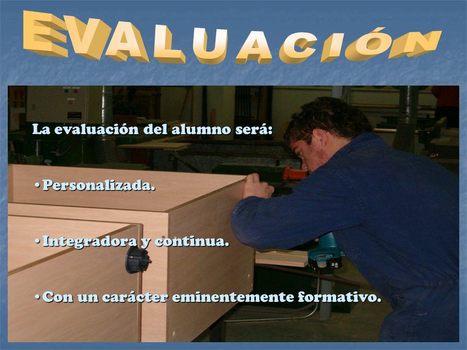 EVALUACIÓN La evaluación del alumno será: Personalizada.