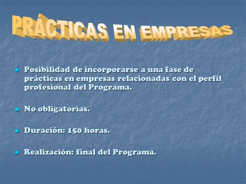 PRÁCTICAS EN EMPRESAS Posibilidad de incorporarse a una fase de prácticas en empresas relacionadas con el perfil profesional del Programa.
