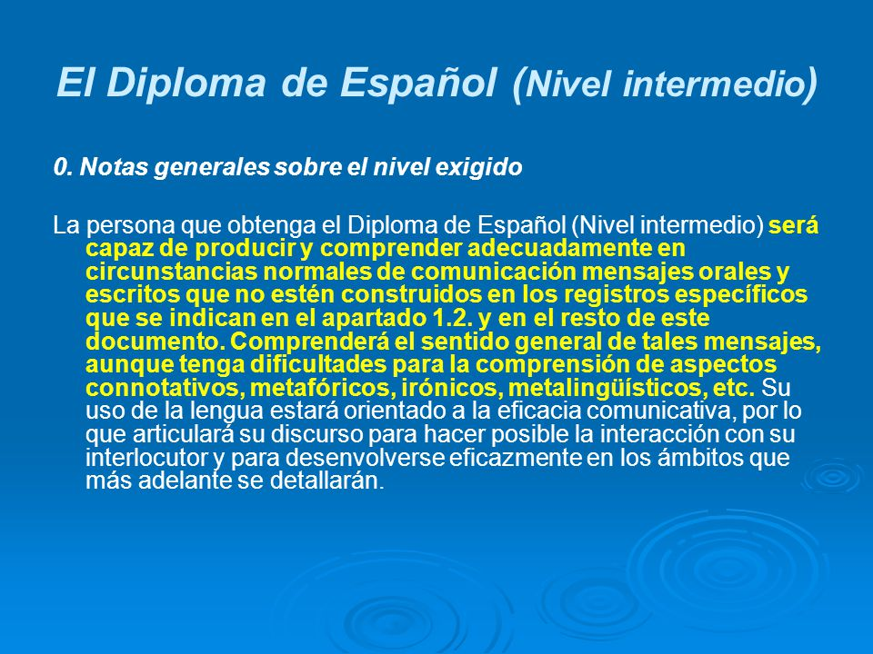 El Diploma de Español (Nivel intermedio)