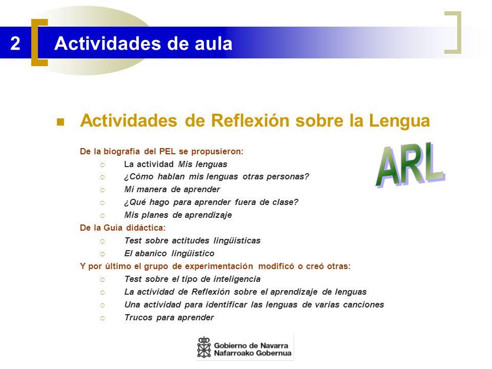 ARL 2 Actividades de aula Actividades de Reflexión sobre la Lengua