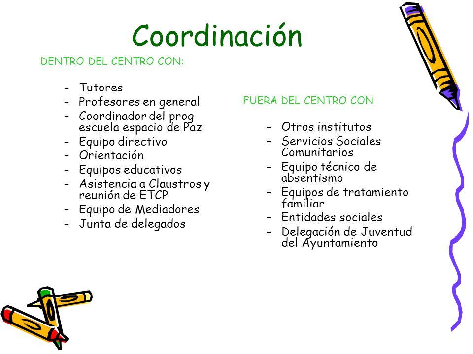 Coordinación Tutores Profesores en general