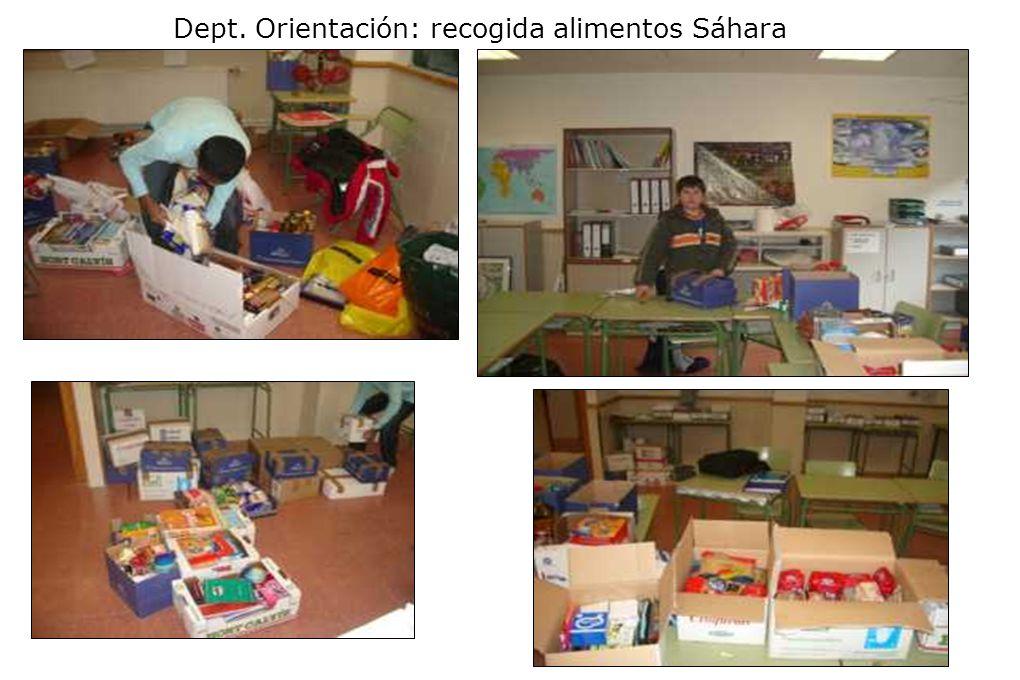 Dept. Orientación: recogida alimentos Sáhara