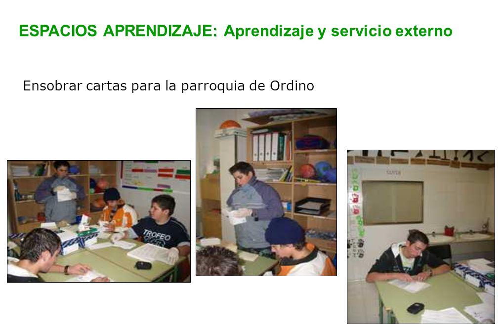 ESPACIOS APRENDIZAJE: Aprendizaje y servicio externo