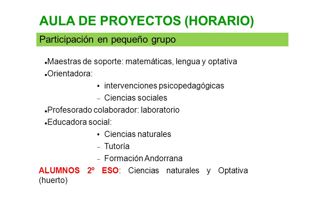 AULA DE PROYECTOS (HORARIO)