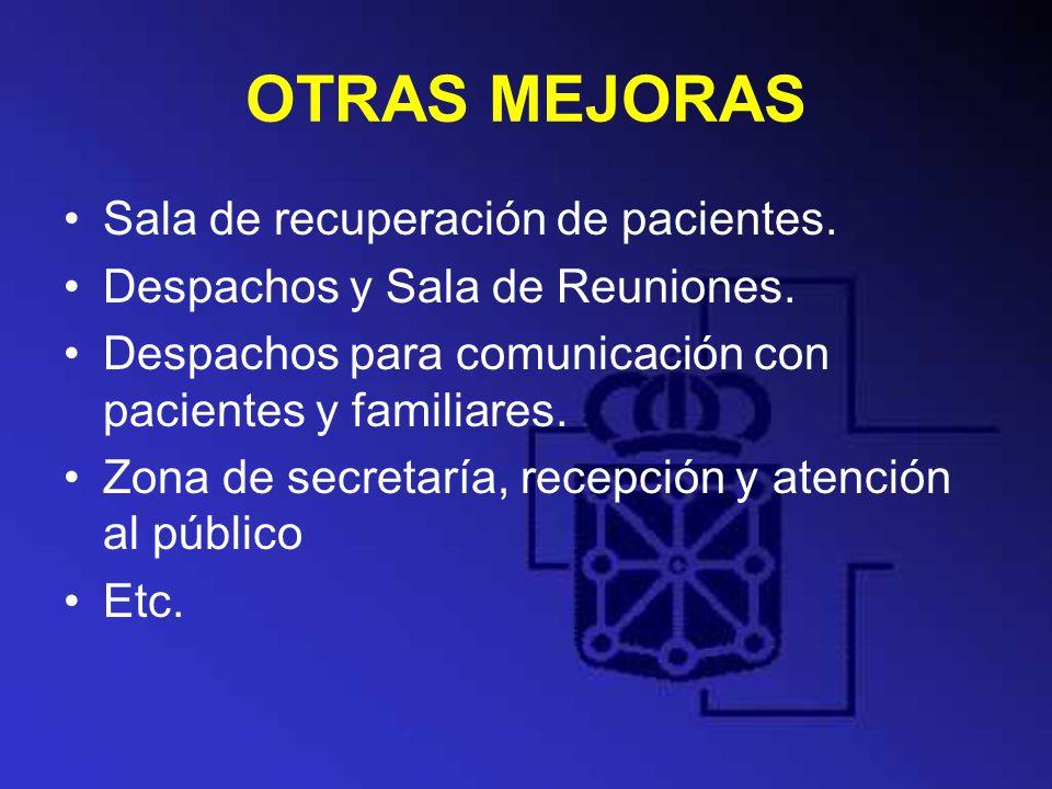 OTRAS MEJORAS Sala de recuperación de pacientes.