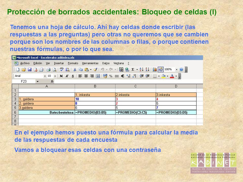 Protección de borrados accidentales: Bloqueo de celdas (I)