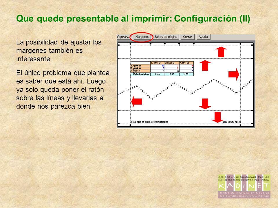 Que quede presentable al imprimir: Configuración (II)