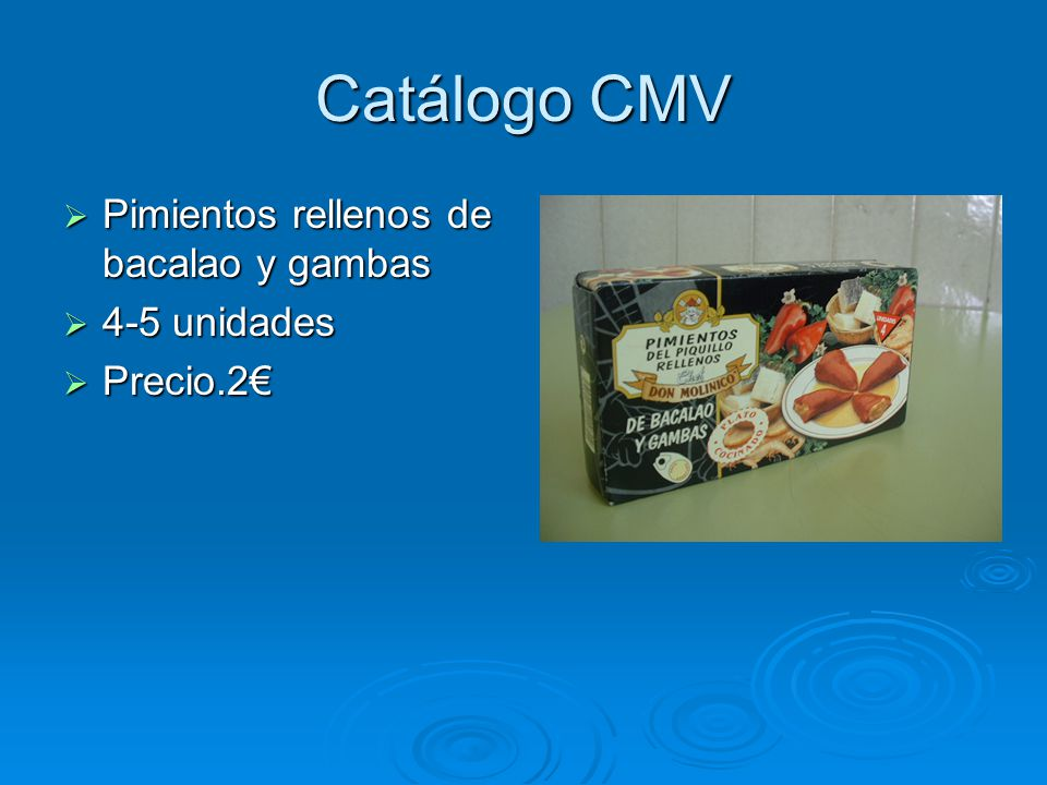 Catálogo CMV Pimientos rellenos de bacalao y gambas 4-5 unidades
