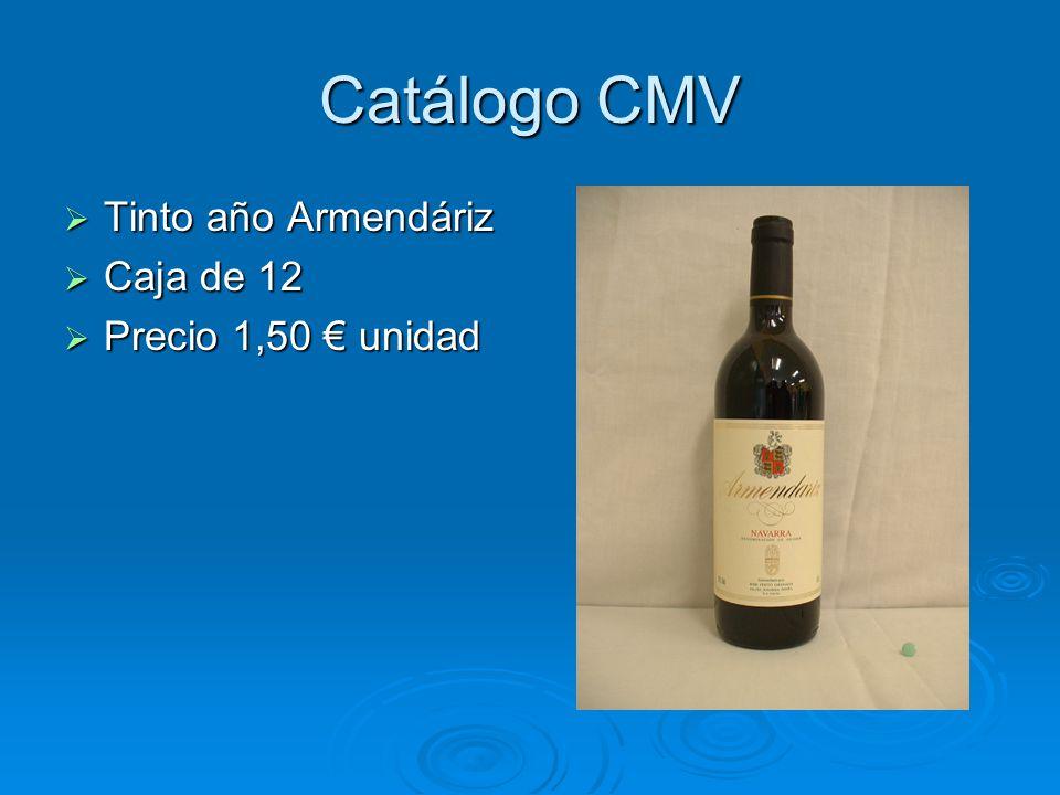 Catálogo CMV Tinto año Armendáriz Caja de 12 Precio 1,50 € unidad