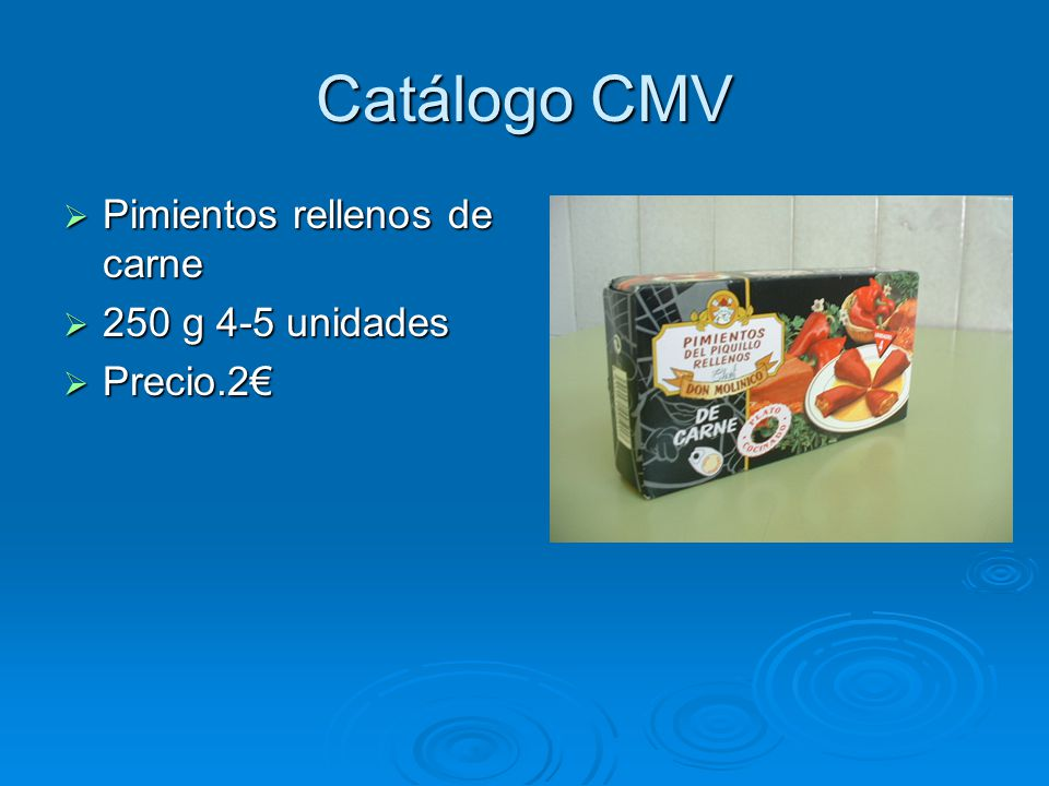 Catálogo CMV Pimientos rellenos de carne 250 g 4-5 unidades Precio.2€