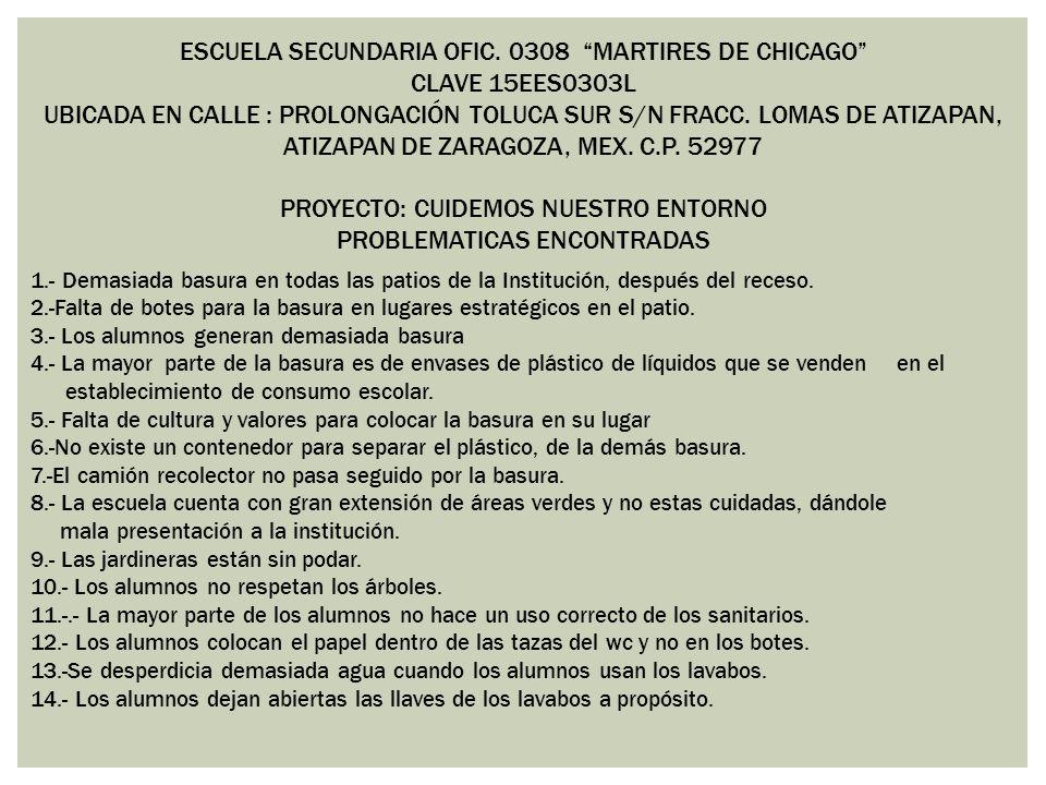 ESCUELA SECUNDARIA OFIC. 0308 MARTIRES DE CHICAGO CLAVE 15EES0303L