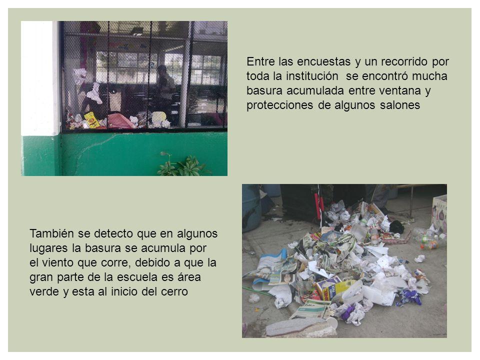 Entre las encuestas y un recorrido por toda la institución se encontró mucha basura acumulada entre ventana y protecciones de algunos salones