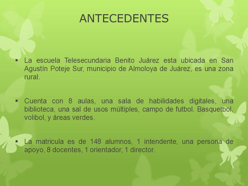 ANTECEDENTES La escuela Telesecundaria Benito Juárez esta ubicada en San Agustín Poteje Sur, municipio de Almoloya de Juárez, es una zona rural.
