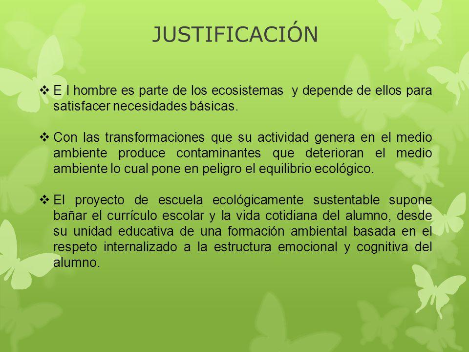 JUSTIFICACIÓN E l hombre es parte de los ecosistemas y depende de ellos para satisfacer necesidades básicas.