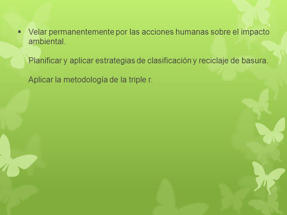 Velar permanentemente por las acciones humanas sobre el impacto ambiental.