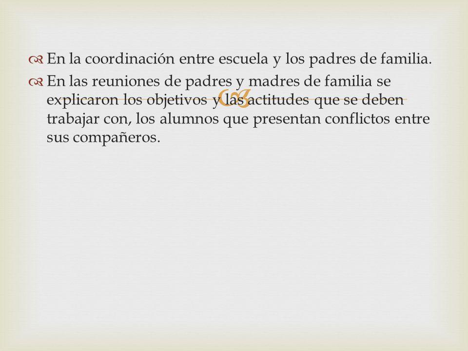 En la coordinación entre escuela y los padres de familia.