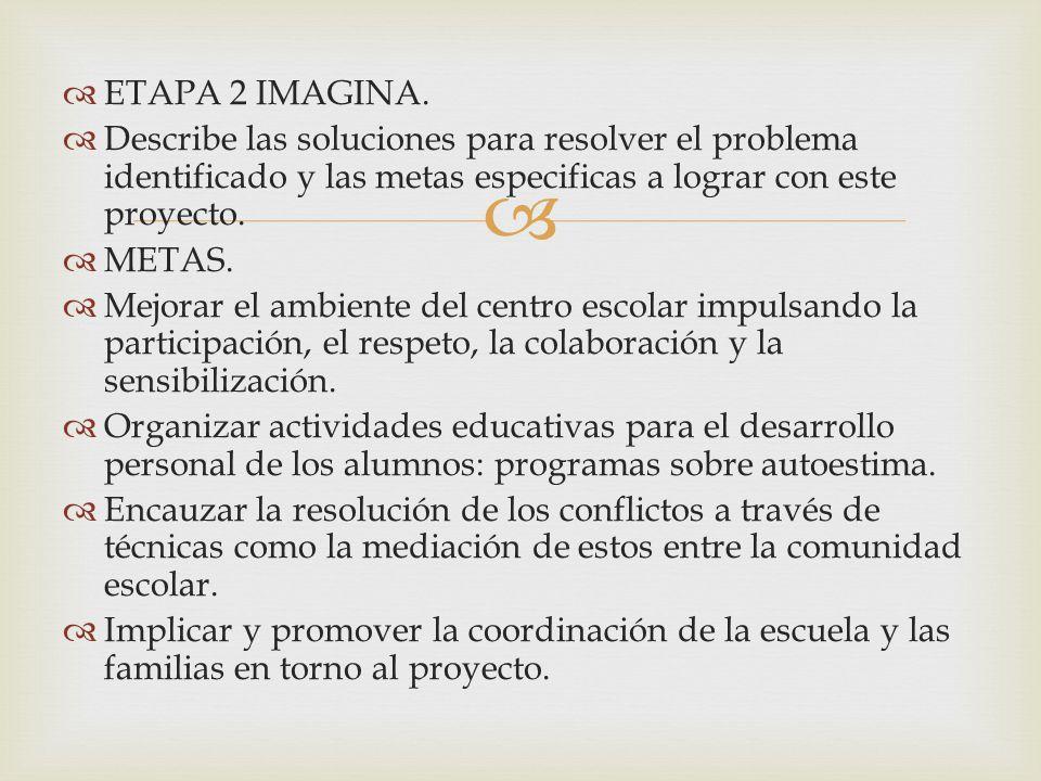 ETAPA 2 IMAGINA. Describe las soluciones para resolver el problema identificado y las metas especificas a lograr con este proyecto.