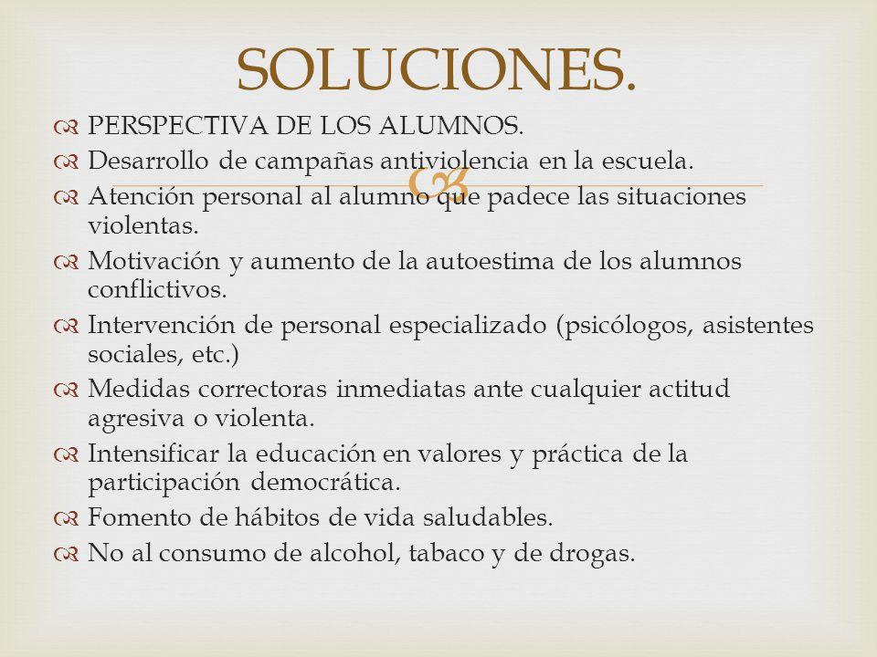 SOLUCIONES. PERSPECTIVA DE LOS ALUMNOS.