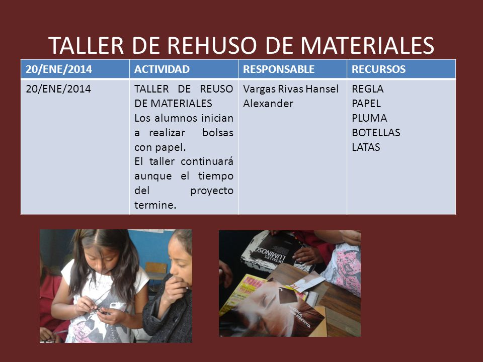 TALLER DE REHUSO DE MATERIALES