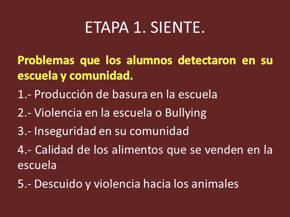 ETAPA 1. SIENTE. Problemas que los alumnos detectaron en su escuela y comunidad. 1.- Producción de basura en la escuela.