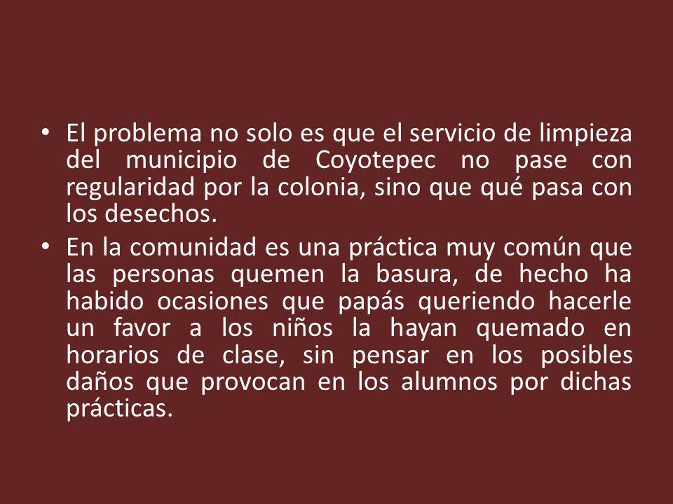 El problema no solo es que el servicio de limpieza del municipio de Coyotepec no pase con regularidad por la colonia, sino que qué pasa con los desechos.