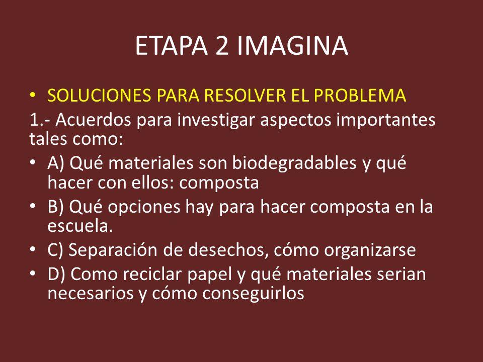 ETAPA 2 IMAGINA SOLUCIONES PARA RESOLVER EL PROBLEMA