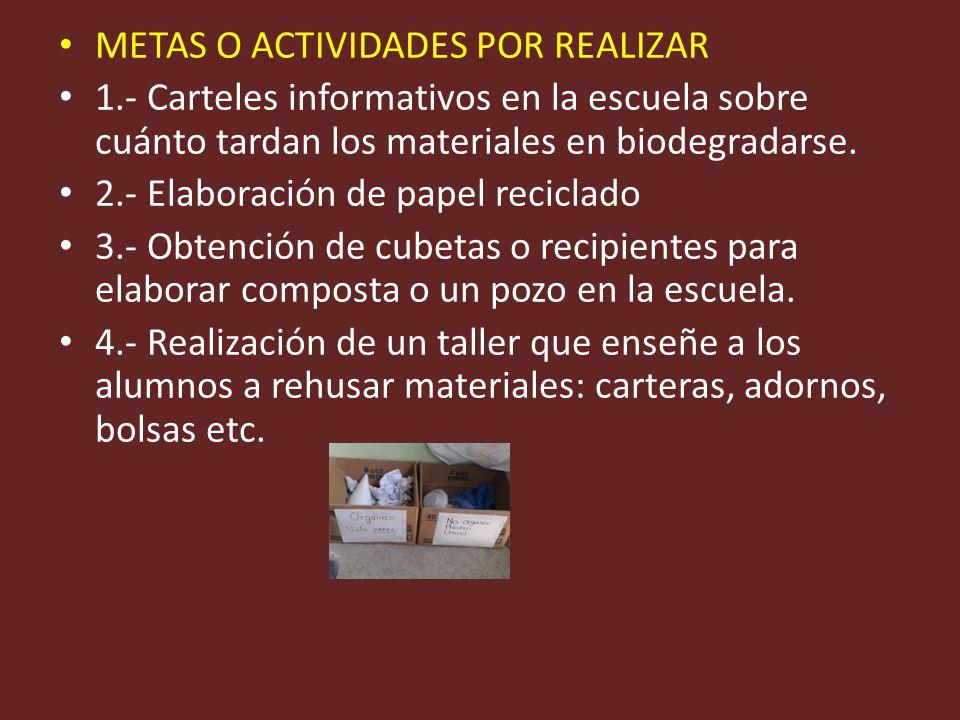 METAS O ACTIVIDADES POR REALIZAR